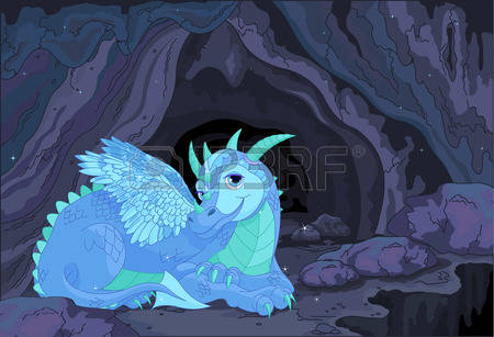 39655214 Illustration Of A Lady Dragon On Fairy Cave Background